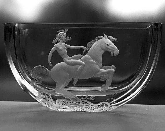 Lady Godiva Vintage Engraved Swedish Art Glass Vase: Extraordinary Lead Crystal Sparkle