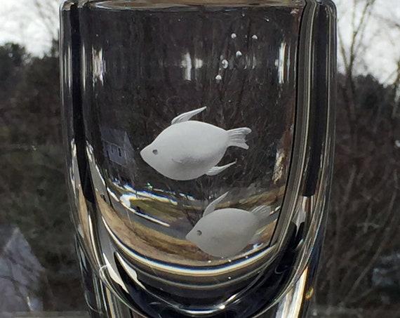 Cute Pair of Fish on Skruf Crystal Vase, Sweden, Edenfalk, 1970's