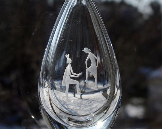 Orrefors Palmqvist Cinderella and Prince Charming, Copper Wheel Engraved, Swedish Crystal Vase, 1956 Design