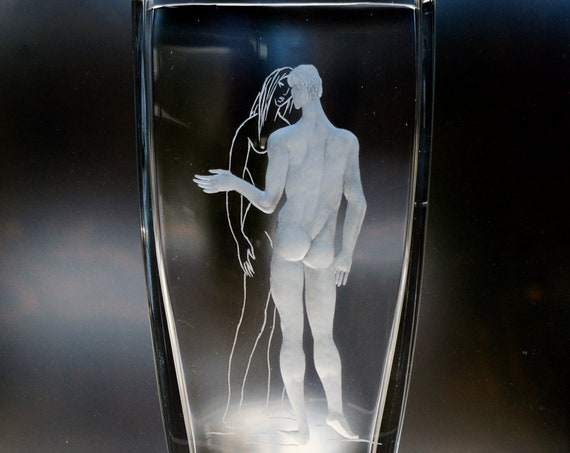 """Val Saint Lambert 10"""" Crystal Vase Nude Man and Woman, Engraved, Signed Daxhelet and L. Barthélemy"""