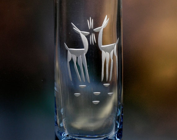 Randsfjord Norway Engraved Pale Blue Glass Vase with Kissing Deer from 1970's