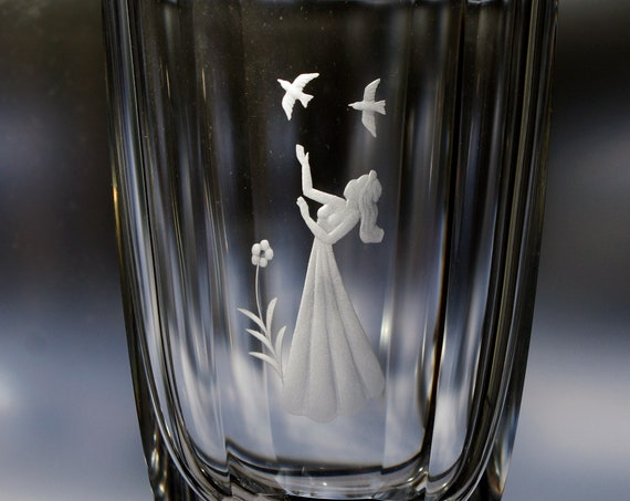 Orrefors Palmqvist Faceted Lead Crystal Vase with a Young Woman a Flower and 2 Birds