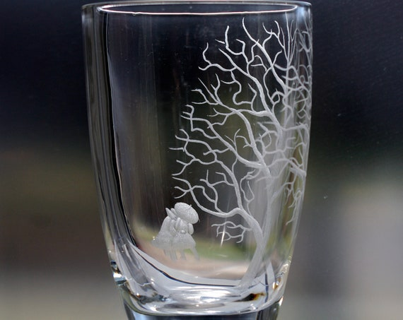 Ekenäs Swedish Engraved Crystal Vase Two People Under an Umbrella and a Tree