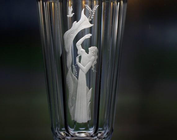 Orrefors Palmqvist 1940 Design of Beautiful Woman, Swedish Lead Crystal Vase, Copper-Wheel Engraved