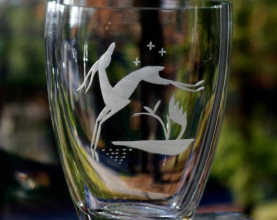 Målerås Glassworks, Sweden Crystal Vase, Engraved Leaping Gazelle, 1950s, Signed Folke Walving