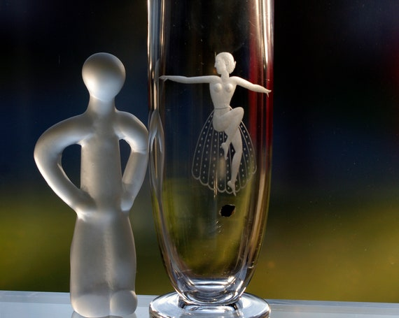 Johansfors 1940s Swedish Tall Glass Vase, Nude Woman with Sheer Lace Skirt, Copper Wheel Engraved