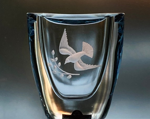 Strömbergshyttan Ice Blue Glass Vase, Engraved Dove with Olive Branch, Made in Sweden 1960s
