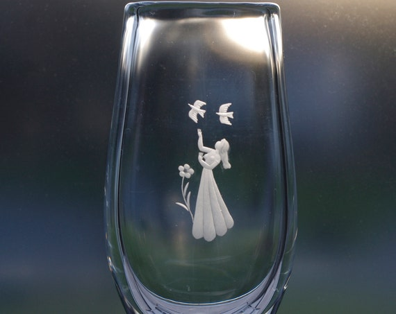 Orrefors Palmqvist Engraved Lead Crystal Vase with a Young Woman a Flower and 2 Birds