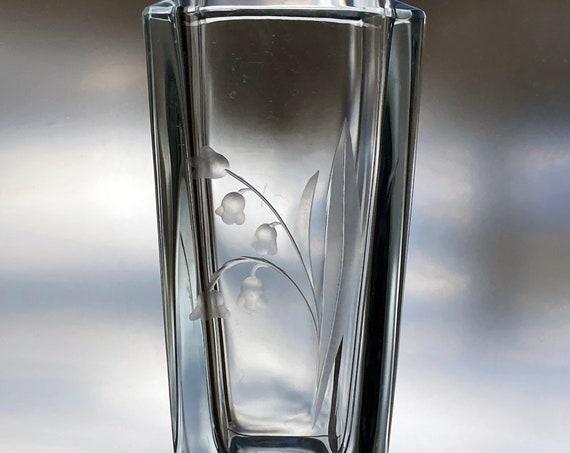 Strömbergshyttan Lily of the Valley Ice Blue Engraved Glass Vase, Swedish Liljekonvalj