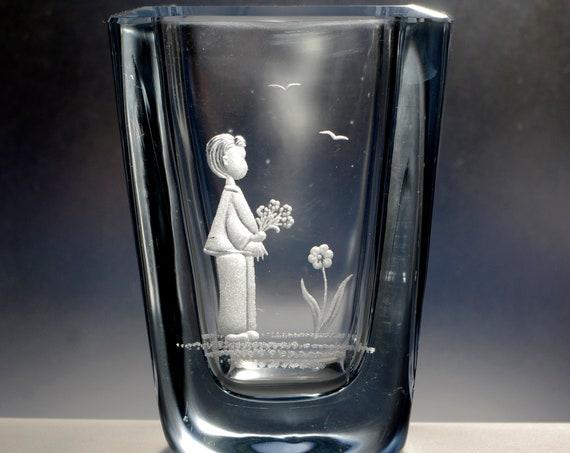Boy with Flowers Hand-Engraved Strömbergshyttan Pale Blue Square Swedish Crystal Vase
