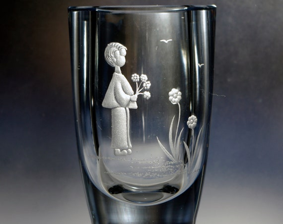 Boy with Flowers Hand-Engraved Strömbergshyttan Pale Blue Round Swedish Crystal Vase