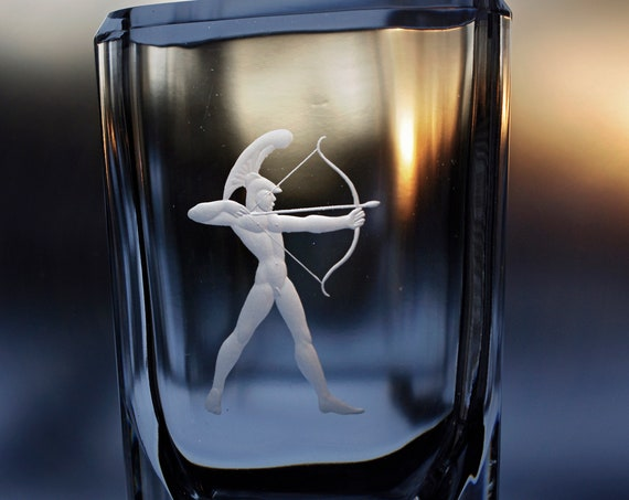 Kosta Nude Man Roman Archer, Bergh & Widholm 30's Engraved Glass Vase