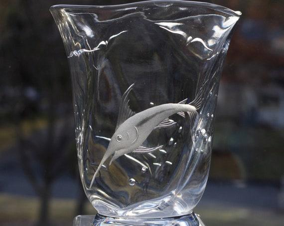 Orrefors 1939 Copper-Wheel Engraved, Rare Swordfish Motif, Crystal Handblown Vase, Hald or Lindstrand