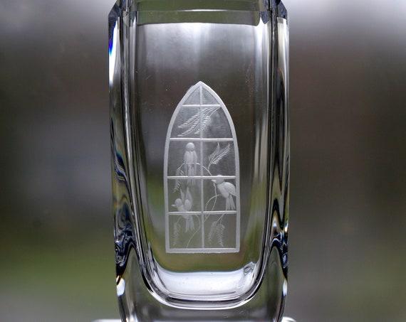 "Skruf 6"" Engraved Swedish Vase, Gothic Window with Birds, Edenfalk 1950's Design"