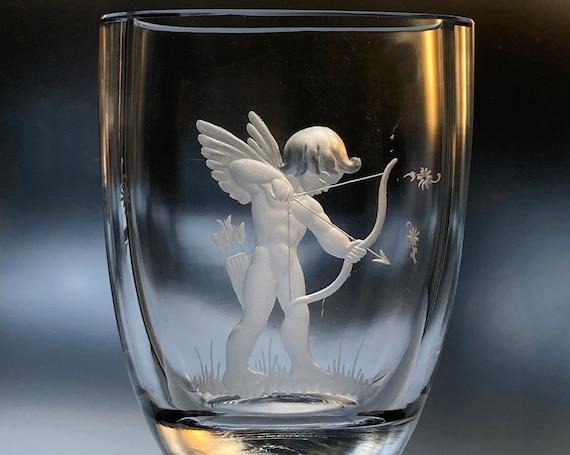 Kjellander Naked Cupid Vase, Copper-Wheel-Engraved Swedish Crystal, 1950s Art Glass