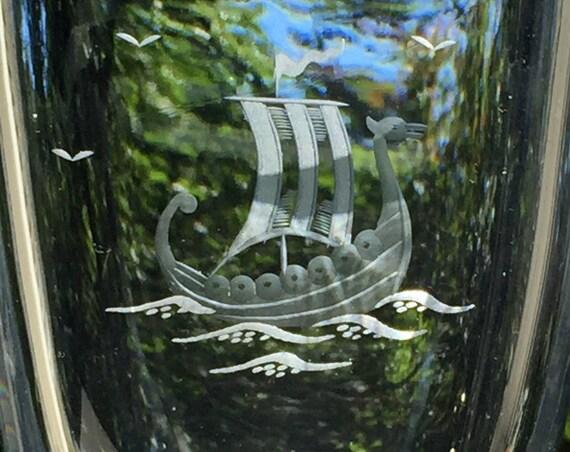 Strömbergshyttan Pale Blue Crystal Vase Hand-Engraved Viking Ship from Sweden