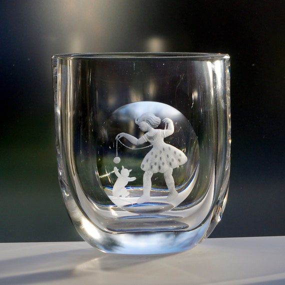 Boda Vintage Swedish Crystal Vase, Little Girl Playing with a Cat or Kitten, 1940's