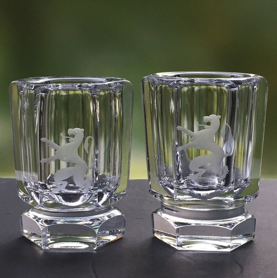 Kosta Bergh Pair Crystal Miniature Urns with Rampant Lions