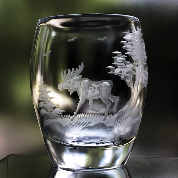 "Swedish Art Glass 3.5"" Vase, Engraved with a Moose in the Woods, 1950's Reijmyre, Sweden"