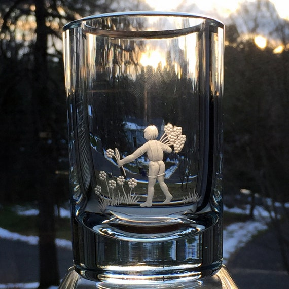 Young Boy with Flowers Engraved Swedish Ice Blue Crystal Vase from Strömbergshyttan