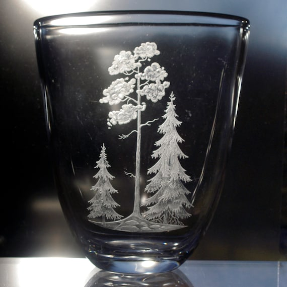 Kosta Very Large 1957 Swedish Vase with Engraved Trees