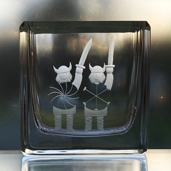 Skruf Engraved Retro Swedish Crystal Vase, Pair of Two Mod Vikings, c1963 Design by Bengt Edenfalk