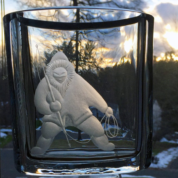 Eskimo Inuit Hunter Fisherman Engraved Glass Vase, 1960s Strömbergshyttan Sweden