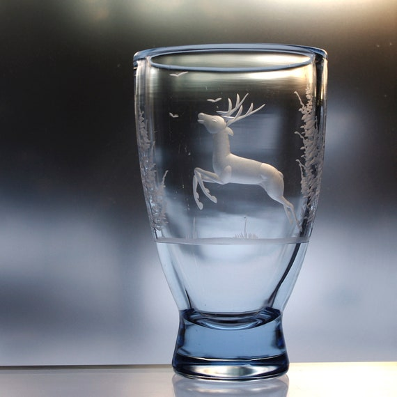 Norwegian Engraved Pale Blue Glass Pedestal Vase with Leaping Deer from 1950s