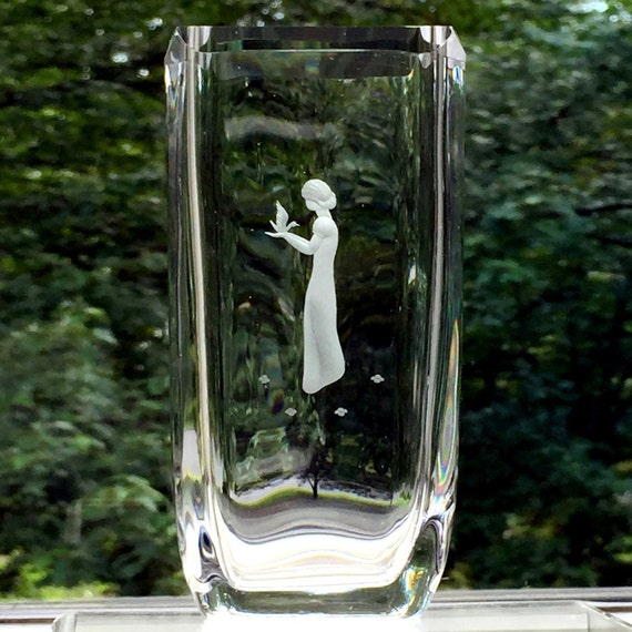 Engraved Crystal Vase, Young Woman Holding a Bird, Skruf Sweden, designed by Bengt Edenfalk, 1960's