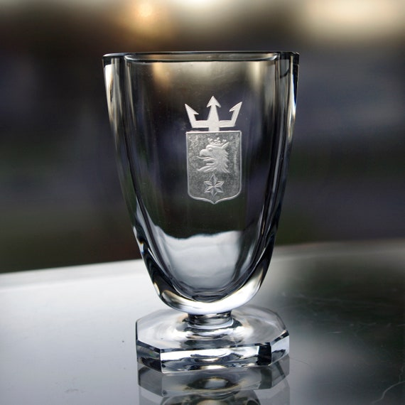 Small Blue Glass Pedestal Vase, Engraved Griffin on Crest with Trident, Made in Sweden