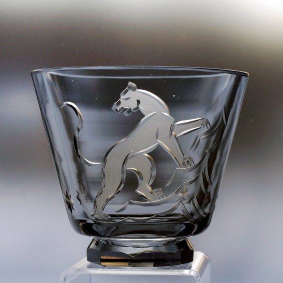 Kjellander 1940s Sleek Cut Panther, Big Cat, on Gray Footed Vase or Bowl; Engraved, Cut, Frosted, Swedish Lead Crystal
