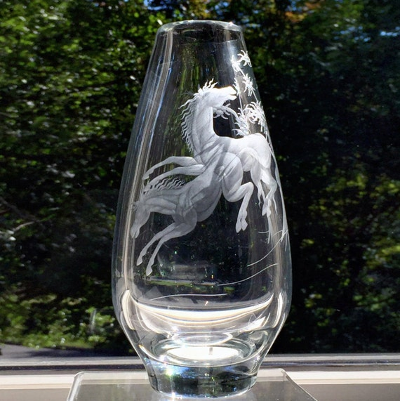 Magnor Crystal Vase Hand-Engraved Horses from Norway