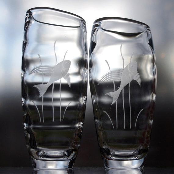 Pair 1950's Johansfors, Sweden, Optic Glass Bengt Orup Fish Vases