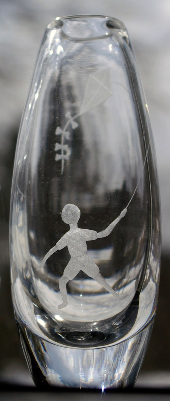 Skruf Engraved Swedish Crystal Vase, Boy Flying Kite, Edenfalk 60s