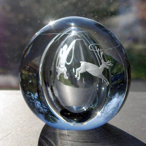Strömbergshyttan Blue Glass Globe Paperweight, Engraved Inuit Herder Lassoing a Reindeer