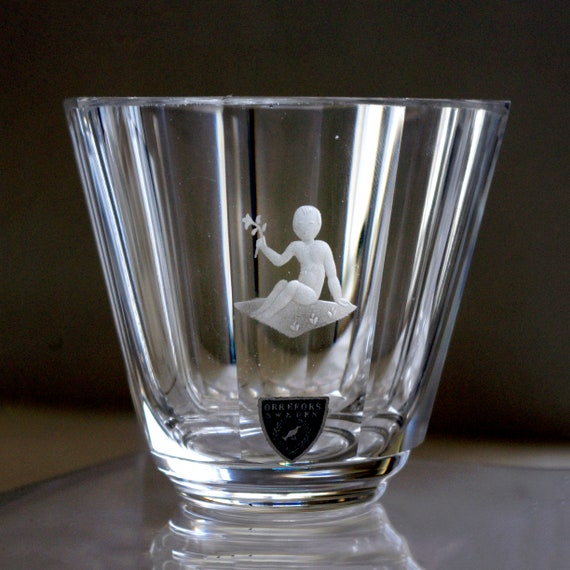 Orrefors Landberg 1950 Vase, Baby Holding Flower, Sitting on Blanket, Small Octagonal Engraved Crystal Vase