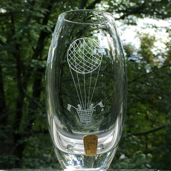 Swedish Glass Vase, Copper Wheel Engraved Hot-air Balloon, 1960's, Johansfors Glassworks