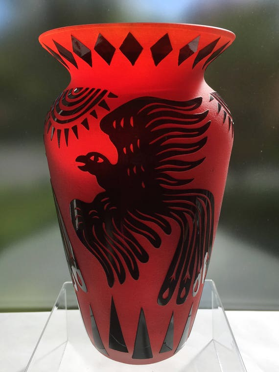 Fellerman Raabe '96 Red Cameo Glass Vase with Sun & Phoenix