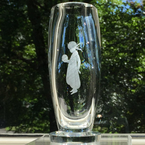 Johansfors Crystal Vase, Engraved with Young Girl in Braids w Ball, Excellent Condition