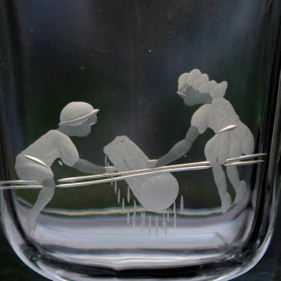 Smålandshyttan Glassworks 1960s Copper-Wheel Engraved Design, Children on See-Saw, Swedish Decorative Vase