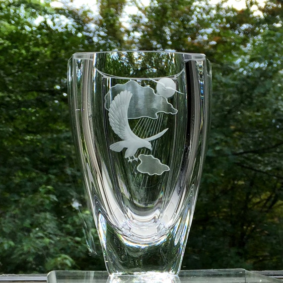 Engraved Crystal Vase With Eagle Sun And Clouds Skruf Etsy