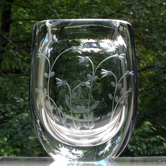 Kosta Linnea Swedish Engraved Glass Vase