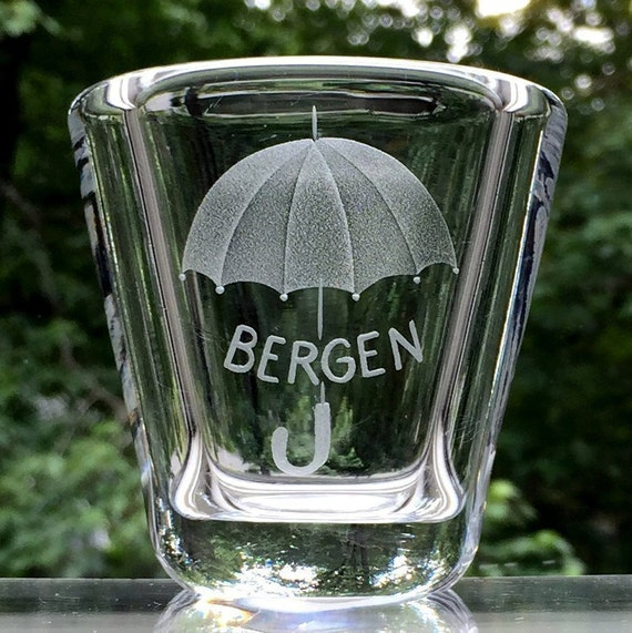 1960's Souvenir Glass Vase from Bergen, Norway, Engraved Umbrella, Made by Hadeland Glassworks
