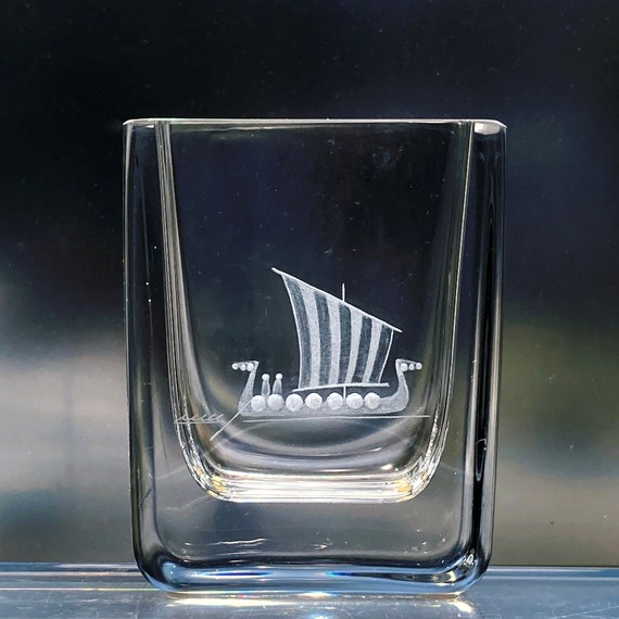 Kosta Boda Edenfalk Viking Longboat Engraved Swedish Crystal Vase