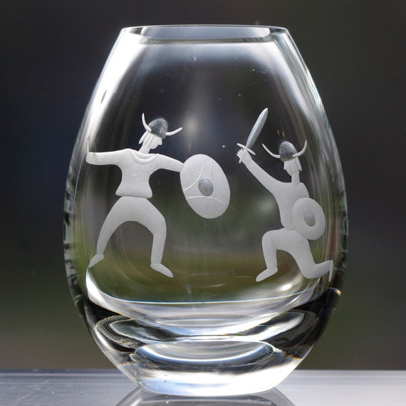 Dueling Viking Boys Hand Engraved Vase, 60's design by Per Lütken for Holmegaard Glass Factory