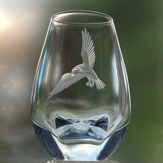 Strömbergshyttan Blue Glass Heavy-Bottom Vase, Engraved Sea Bird, Gerda Strömberg Design