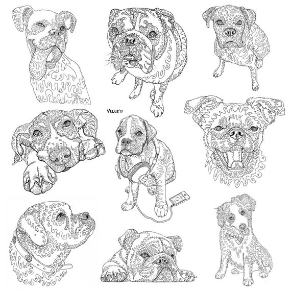 Dog Coloring Book: Handmade Art Doodles by the Dottist - Boxers, Bulldogs,  Great Dane, Muts