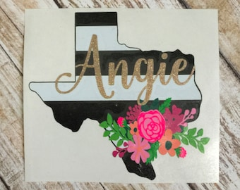 THE ORIGINAL Personalized Floral State Decal | Floral Decal | Floral State Decal | Car Decal | Cup Decal | All States Available