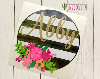 Floral Striped Circle Decal | Cup Decal | Car Decal | Monogram Decal | Monogram Car Decal | Laptop Decal | Floral Decal
