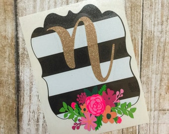 Floral Black, White, and Gold Initial Decal | Cup Decal | Car Decal | Monogram Decal | Monogram Car Decal | Laptop Decal | Floral Decal
